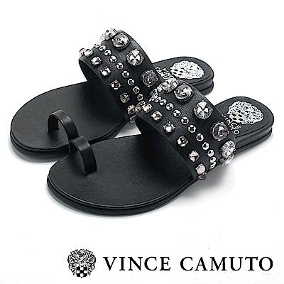 Vince Camuto 小羊皮寬版水鑽平底拖鞋-黑色