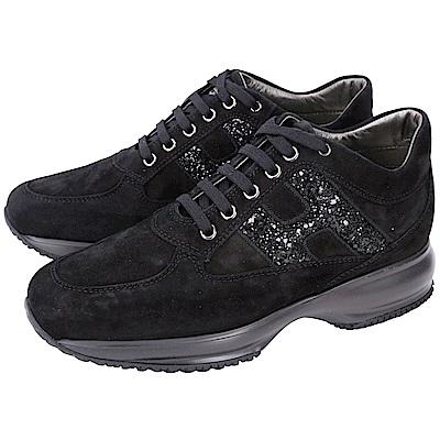 HOGAN Interactive H亮片飾麂皮綁帶休閒鞋(黑色)