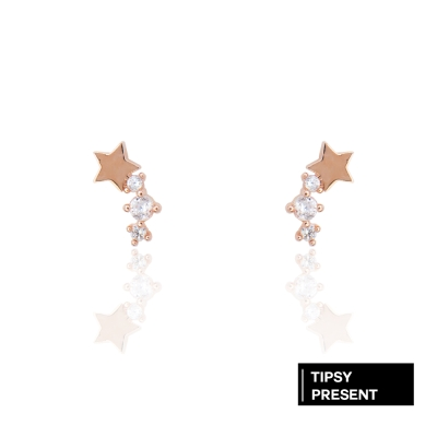 微醺禮物 耳環 正韓 銀針 鍍K金 鋯石 迷你流星 耳針 耳環