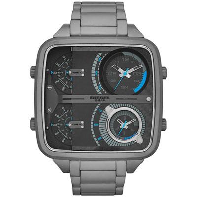 DIESEL 霸氣主導四時區方形腕錶-灰
