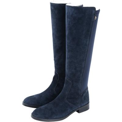 TORY BURCH Selden  麂皮拼接低跟長靴(深藍色)