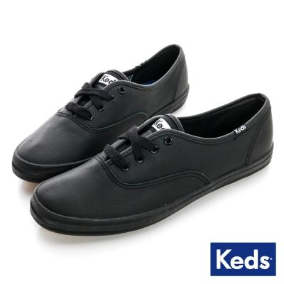 Keds 品牌經典皮質綁帶休閒鞋-全黑