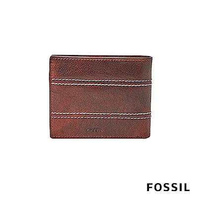 FOSSIL REESE精緻撞色縫線真皮短夾-咖啡色