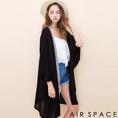 AIR-SPACE-素面圖騰滾邊開襟罩衫外套-黑