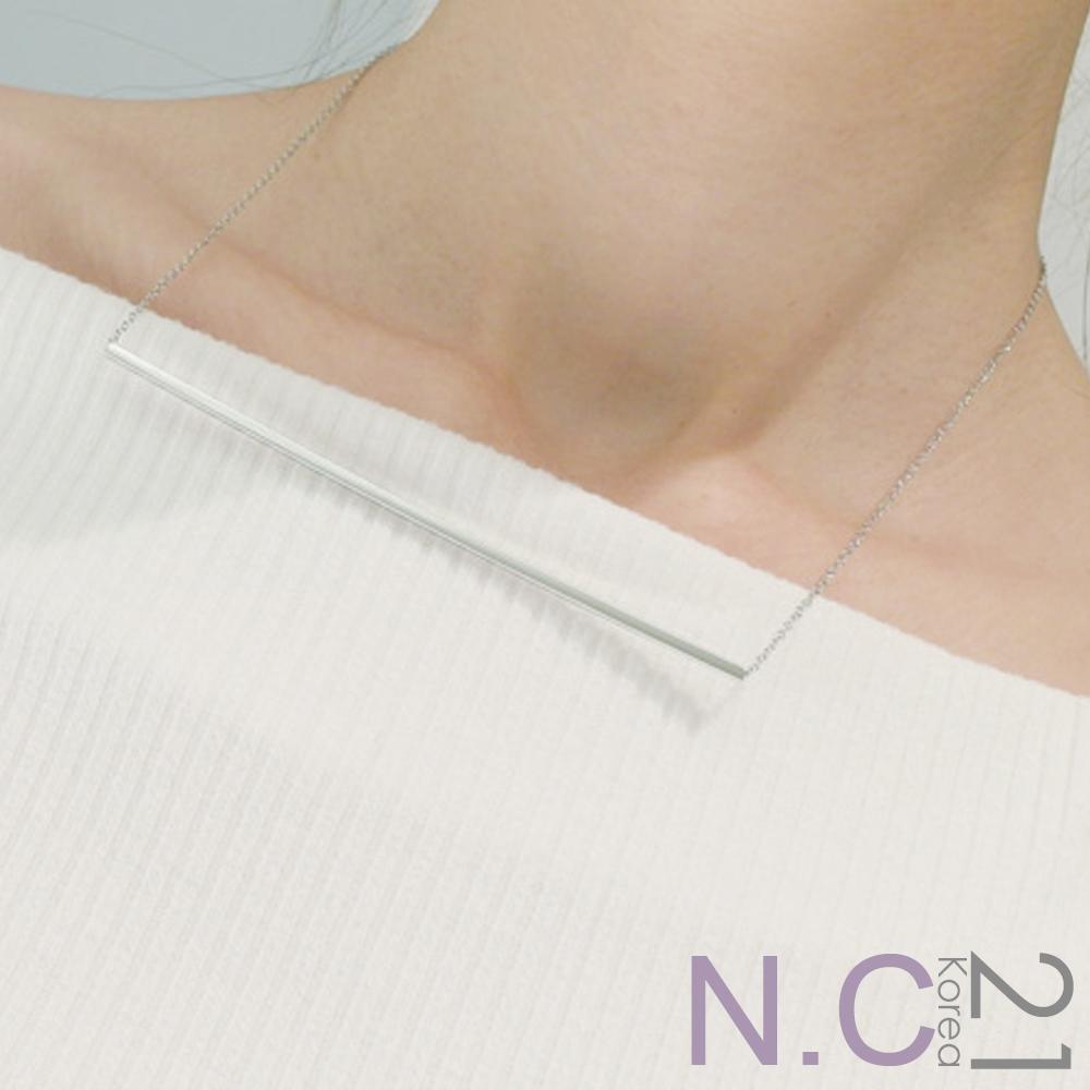 N.C21-正韓 氣質金屬橫條垂墜項鍊(銀色)