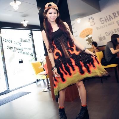 古著 中大尺碼 火焰潑墨刷色背心洋裝