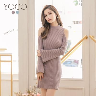 東京著衣-yoco 唯美氣質挖肩針織洋裝-S.M.L(共二色)
