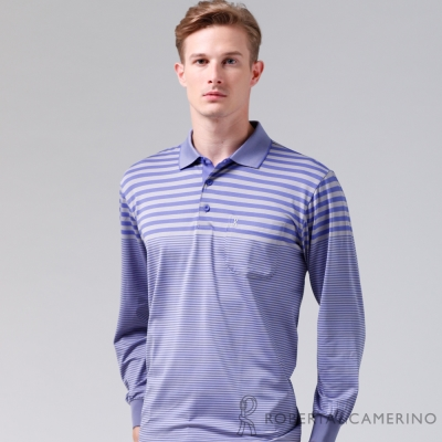 ROBERTA諾貝達-台灣製-抗UV-吸溼速乾-長袖POLO棉衫RBE84-37紫色