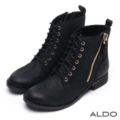 ALDO 原色真皮鞋面金屬拉鍊綁帶短靴~低調霧黑