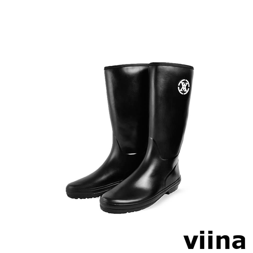 viina logo中筒雨靴-黑色