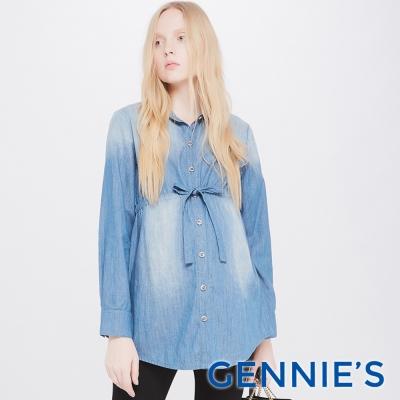 Gennies專櫃-復古刷色開襟牛仔綁帶上衣(T3E13)牛仔藍-M