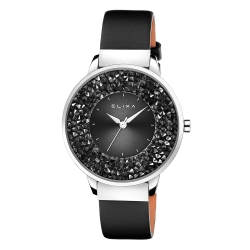 ELIXA Finesse系列銀框 黑色晶鑽錶面/皮革錶帶38mm
