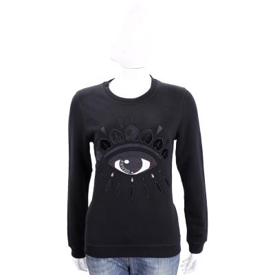 KENZO 黑色刺繡珠飾眼睛圖騰棉質長袖T恤
