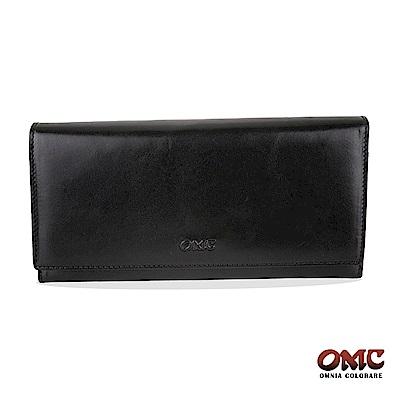 OMC 原皮系列-植鞣牛皮壓扣16卡透明窗雙隔層零錢長夾-黑色