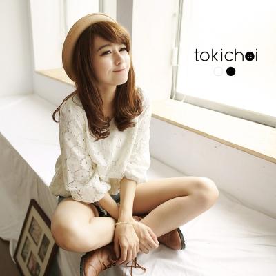 東京著衣 花蕾絲七分蓬袖縮口上衣(共二色)