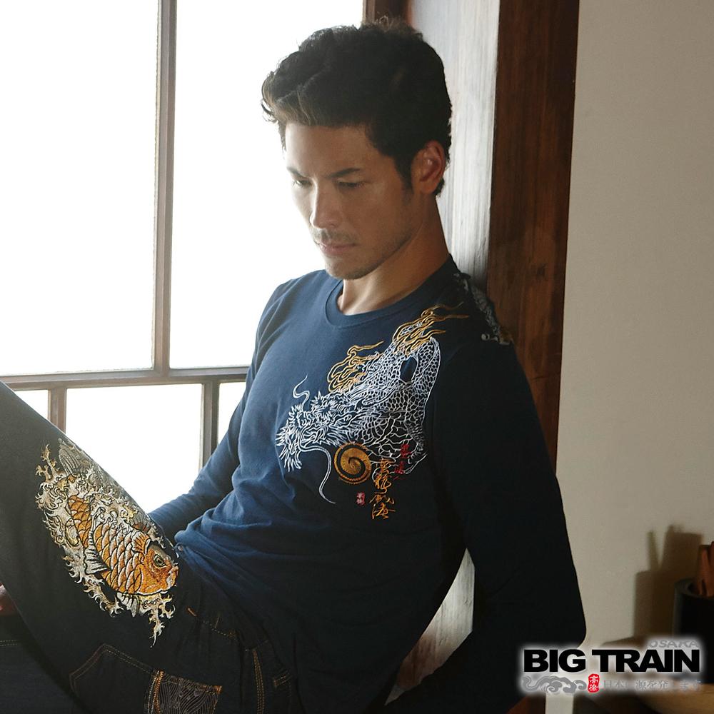 BIG TRAIN 藏雲蟠龍圓領長袖T-男-深藍