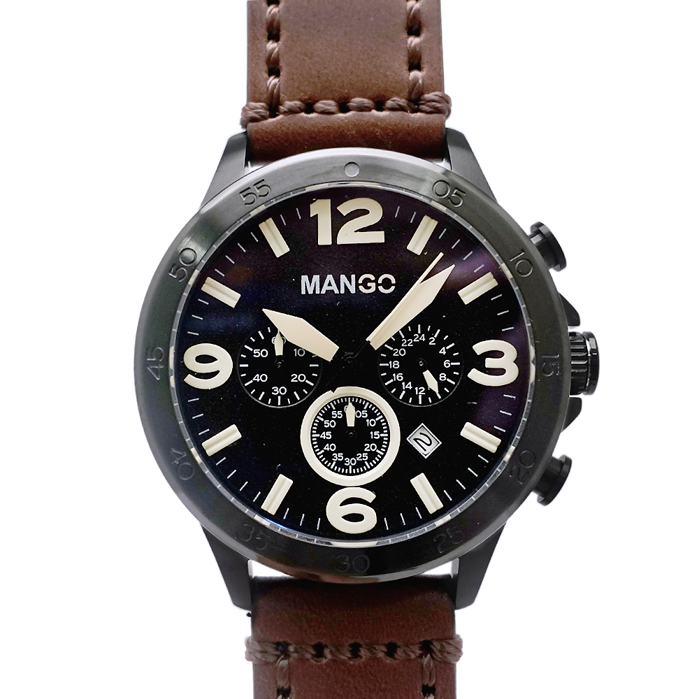 MANGO 王者風範三眼計時真皮手錶-黑X咖啡/45mm