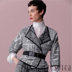 JESSICA - Alma 率性翻領幾何圓點腰帶五分袖外套