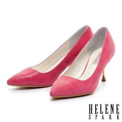 HELENE-SPARK-蜥蜴貼膜羊皮素面尖頭金屬高跟鞋-桃
