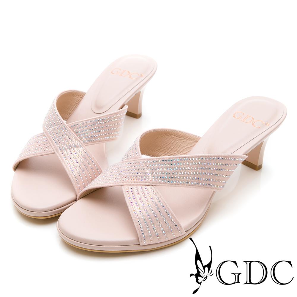 GDC-金屬質感交叉水鑽優雅低跟拖鞋-粉色