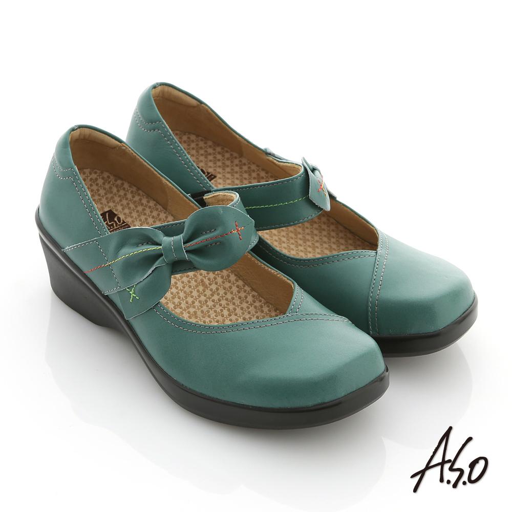 A.S.O 紓壓耐走 全蠟感牛皮蝴蝶扭結氣墊鞋 綠