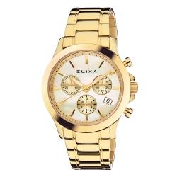 ELIXA ENJOY金屬系列金框 三眼錶盤 香檳金色金屬錶帶38mm