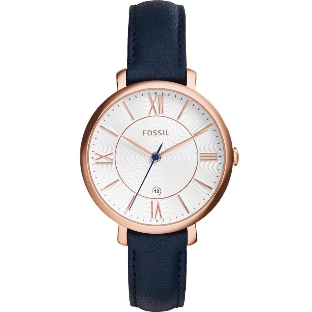 FOSSIL 羅馬風尚優雅皮革腕錶-白x藍/36mm