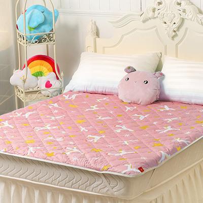 Fancy Belle X Malis 小飛馬-粉紅 防蹣抗菌透氣防水平面式保潔墊-雙人
