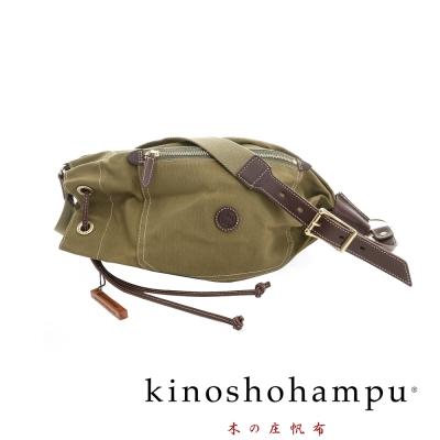 kinoshohampu 經典球型設計束口帆布斜揹包 軍綠