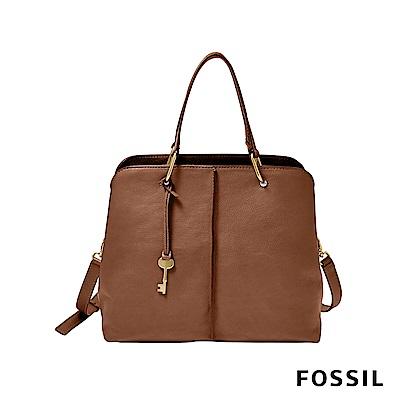 FOSSIL LANE 真皮俐落多夾層肩背/手提兩用包-咖啡色