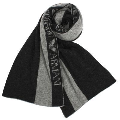 Emporio Armani 雙色直條紋羊毛圍巾-黑/灰