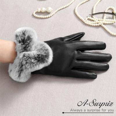 A-Surpriz-高雅兔毛滾邊觸控手套-黑