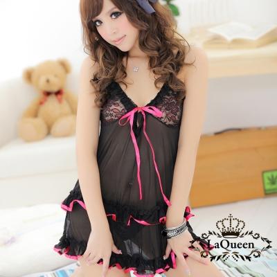 情趣睡衣   野豔繡花連身情趣睡衣-黑La Queen