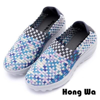 Hong Wa - 運動休閒透氣馬賽克編織布鞋 - 彩色