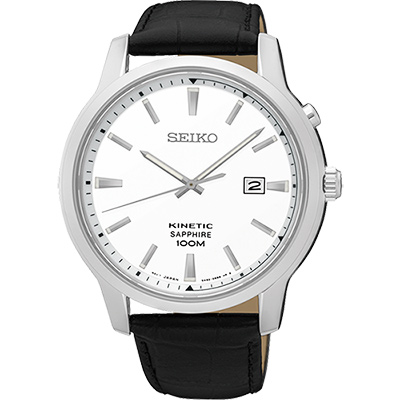 SEIKO KINETIC 紳士型男人動電能腕錶(SKA743P1)-銀x黑/44mm