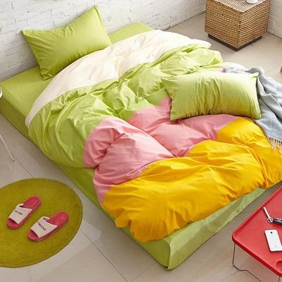 Aileen-撞色糖果單人三件式被套床包組-青蘋果