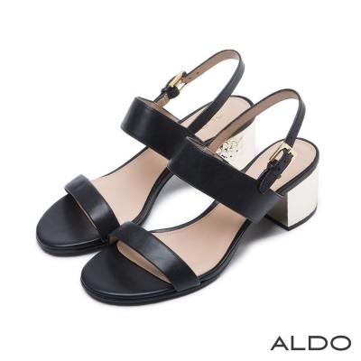 ALDO 原色真皮鞋面一字拉帶式涼鞋~尊爵黑色