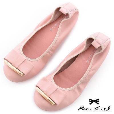 Mori girl甜美樂活-高質感牛皮蝴蝶結娃娃鞋  粉