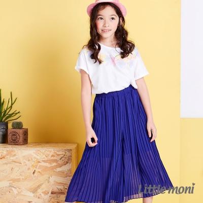 Little moni 輕甜女孩百折長褲裙 深藍