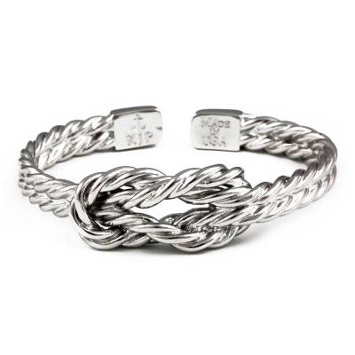 Kiel James Patrick 美國手工船錨幸運水手繩結銀色可調整手環