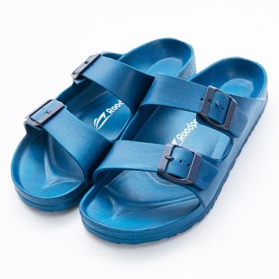 Roadpacer-男雙釦環休閒拖鞋-藍