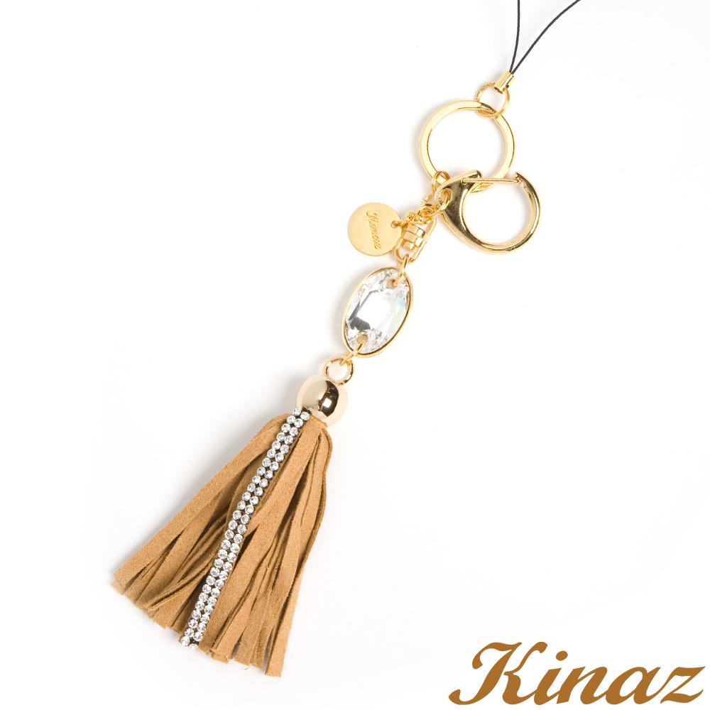 KINAZ -Sweety糖果小物~搶眼美鑽麂皮流蘇吊飾-焦糖棕