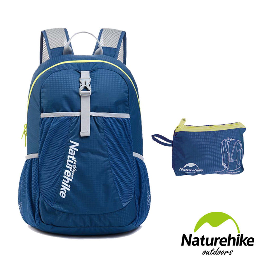 Naturehike 22L超輕量折疊收納後背包 登山包 攻頂包 深藍