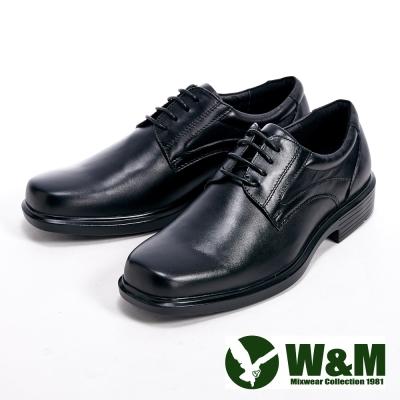 W&M 真皮氣墊綁帶方頭男皮鞋-黑