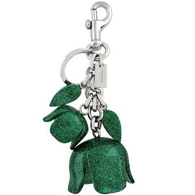 COACH 綠色立體花朵亮片鑲嵌大型鑰匙圈吊飾COACH