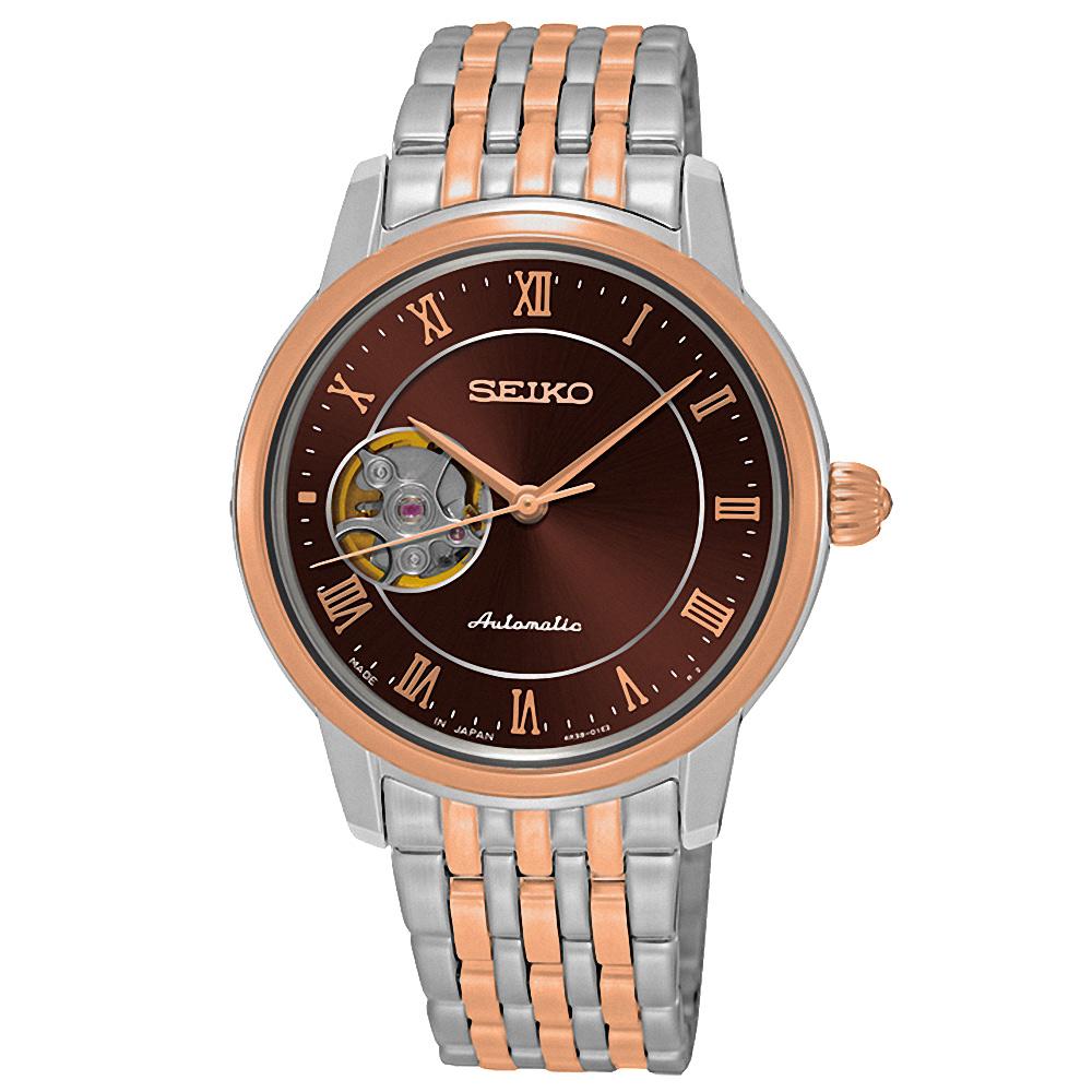 SEIKO Presage 開芯女孩經典機械錶(SSA852J1)-咖啡x雙色版/34mm