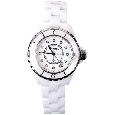 CHANEL 香奈兒 J12 H1628 白色精密陶瓷精鋼鑽石腕錶-33mm