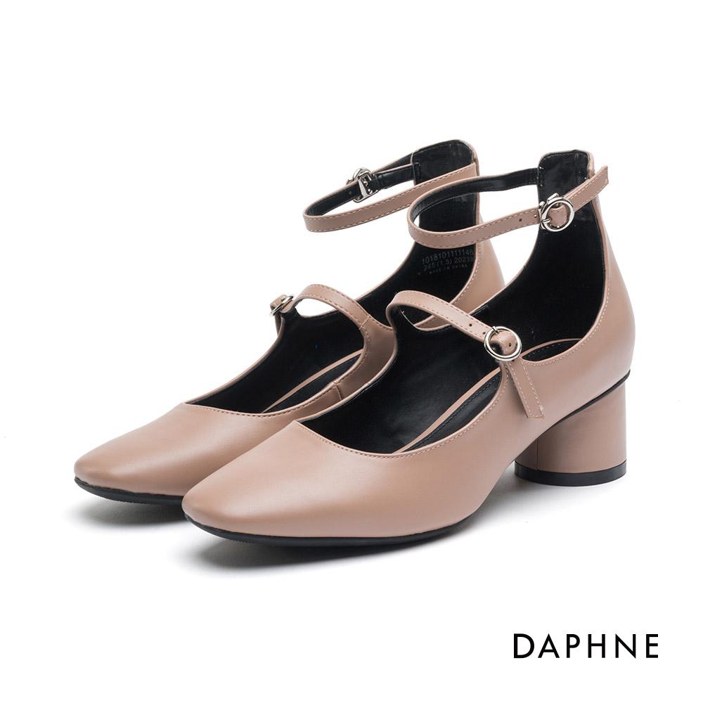達芙妮DAPHNE高跟鞋-細帶繞踝復古粗跟鞋-杏