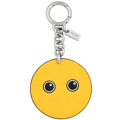 COACH 黃色皮革壓紋鑰匙圈COACH
