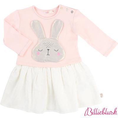 Billieblush女嬰粉嫩兔子拼接長袖洋裝